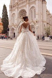 Wedding dress Rachel  Silhouette  A Line  Color  Ivory  Neckline  Sweetheart  Sleeves  Off the Shoulder Sleeves  Train  With train - foto 2
