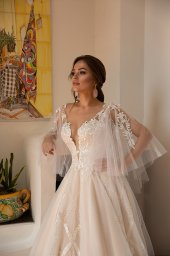 Wedding dress Lindsey Silhouette  A Line  Color  Ivory  Neckline  Sweetheart  Sleeves  Detachable  Train  With train - foto 2