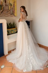 Wedding dress Lindsey Silhouette  A Line  Color  Ivory  Neckline  Sweetheart  Sleeves  Detachable  Train  With train - foto 5