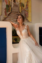 Wedding dress Lindsey Silhouette  A Line  Color  Ivory  Neckline  Sweetheart  Sleeves  Detachable  Train  With train - foto 3