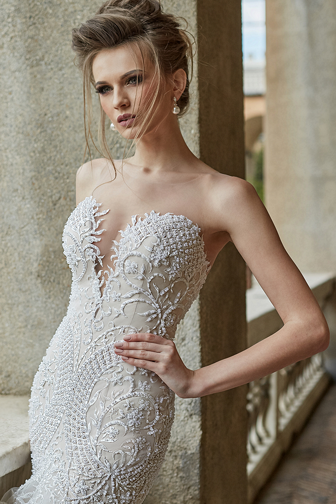 Wedding dress Melania Silhouette  Mermaid  Color  Blush  Ivory  Neckline  Sweetheart  Sleeves  Sleeveless  Train  With train - foto 3