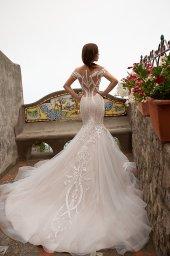Wedding dress Fidelia 侧影  美人鱼  颜色  卡布奇诺   象牙  切口  甜心形状  袖子  露肩袖  拖地后襟  有 衣服的可拆卸系 - foto 4