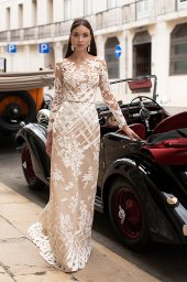 Wedding dresses Picassa Collection  Lisbon Lace  Silhouette  Sheath  Color  Cappuccino  Ivory  Neckline  Illusion  Sleeves  Long Sleeves  Fitted  Train  With train - foto 2
