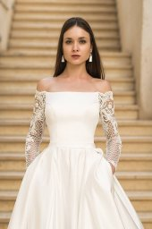Wedding dresses Frederika Collection  Fresh Touch  Silhouette  A Line  Color  Ivory  Neckline  Straight  Sleeves  Off the Shoulder Sleeves  Long Sleeves  Fitted - foto 2