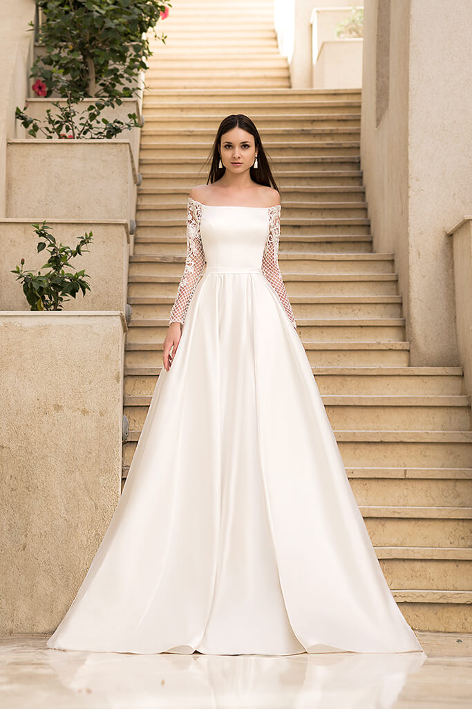 Wedding dresses Frederika Collection  Fresh Touch  Silhouette  A Line  Color  Ivory  Neckline  Straight  Sleeves  Off the Shoulder Sleeves  Long Sleeves  Fitted - foto 3