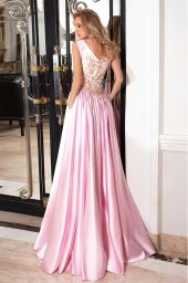 Evening dresses №1022 Silhouette  A Line  Color  Pink  Neckline  Scoop  Sleeves  Sleeveless  Train  No train - foto 3