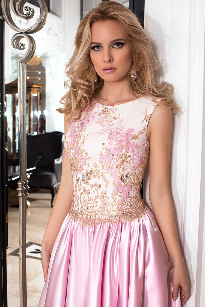 Evening dresses №1022 Silhouette  A Line  Color  Pink  Neckline  Scoop  Sleeves  Sleeveless  Train  No train - foto 2