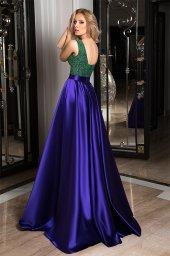 Evening dresses №1050  Silhouette  A Line  Color  Blue  Neckline  Scoop  Sleeves  Sleeveless  Train  No train - foto 2