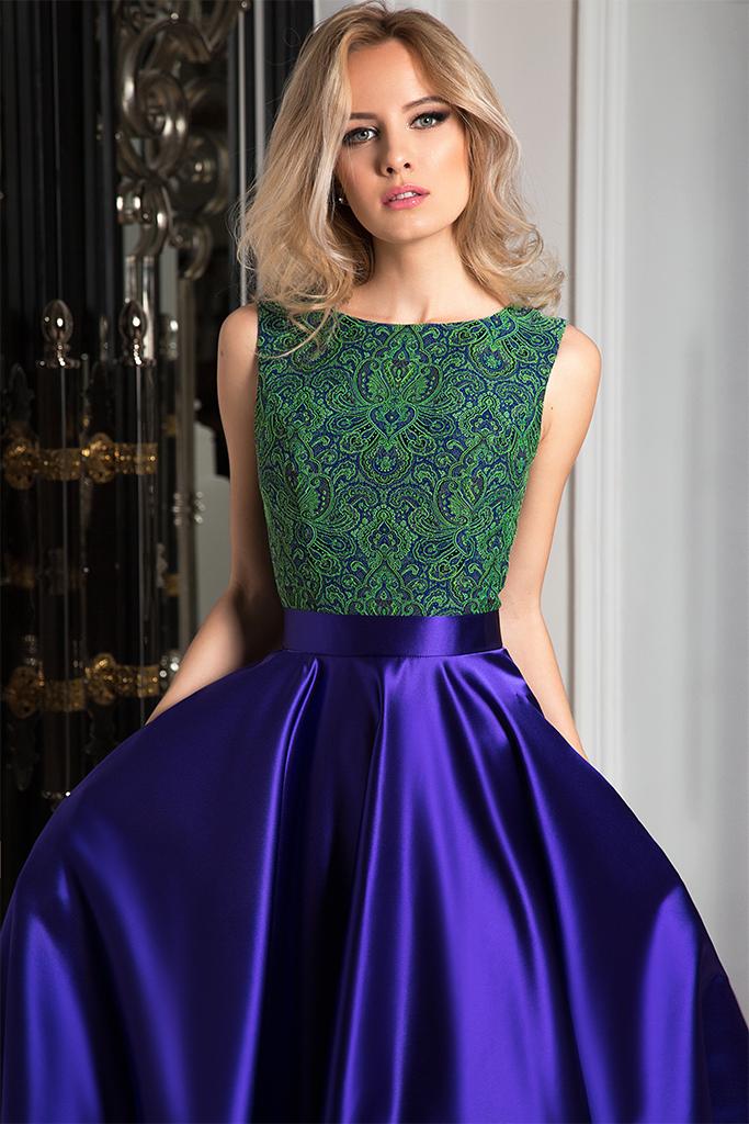 Evening dresses №1050  Silhouette  A Line  Color  Blue  Neckline  Scoop  Sleeves  Sleeveless  Train  No train - foto 3