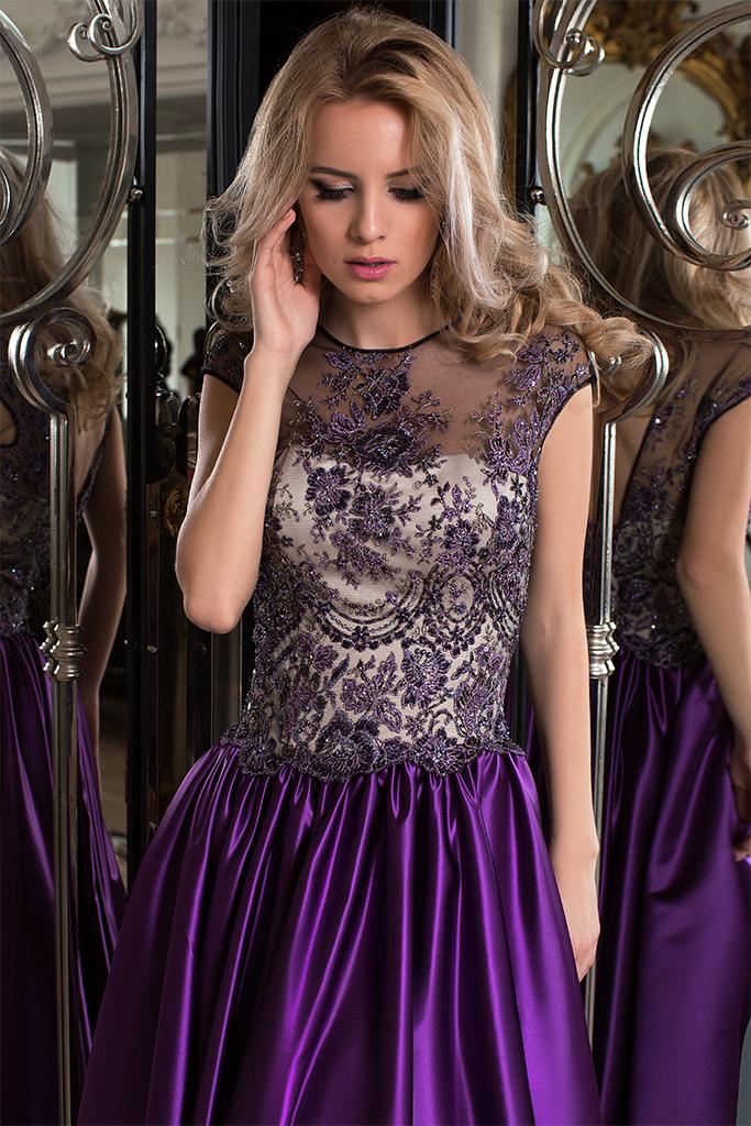 Evening dresses №1051 Silhouette  A Line  Color  Eggplant  Neckline  Scoop  Sleeves  Sleeveless  Train  No train - foto 3