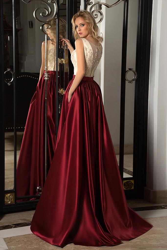 Evening dresses № 1054 Silhouette  A Line  Color  Claret  Ivory  Neckline  Scoop  Sleeves  Sleeveless  Train  No train - foto 2