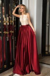 Evening dresses № 1054 Silhouette  A Line  Color  Claret  Ivory  Neckline  Scoop  Sleeves  Sleeveless  Train  No train - foto 4