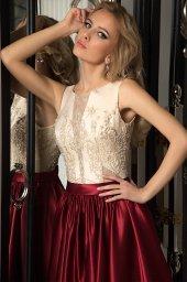 Evening dresses № 1054 Silhouette  A Line  Color  Claret  Ivory  Neckline  Scoop  Sleeves  Sleeveless  Train  No train - foto 3
