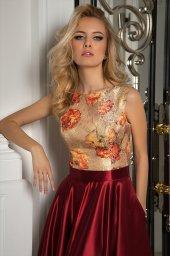 Evening dresses №1069 Silhouette  A-Silhouette  Farbe  Bordeux   Ausschnitt  rund  Ärmel  ärmellos  Schweif  Ohne Schleppe - foto 3