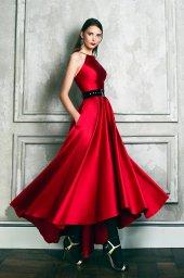 Evening dresses №1361-1 Silhouette  A Line  Color  Red  Neckline  Halter  Sleeves  Sleeveless  Train  No train - foto 4