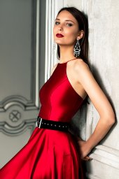 Evening dresses №1361-1 Silhouette  A Line  Color  Red  Neckline  Halter  Sleeves  Sleeveless  Train  No train - foto 3