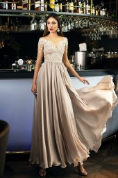 Evening dresses №1397  Silhouette  A Line  Color  Silver  Neckline  Sweetheart  Sleeves  3/4 Sleeves  Train  No train - foto 2
