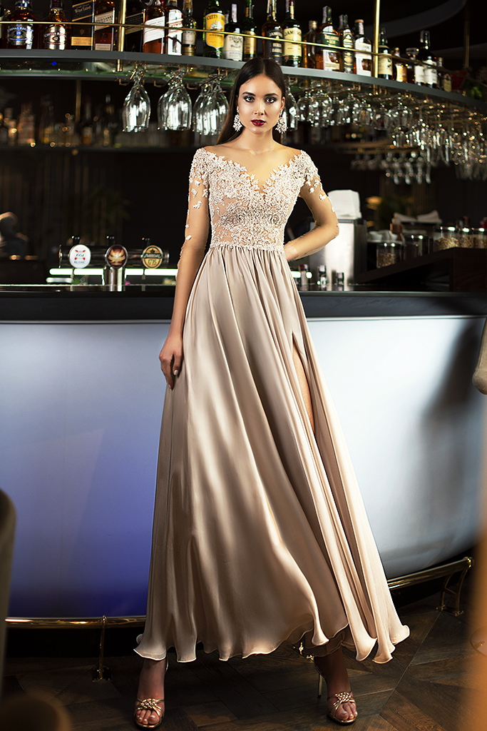 Evening dresses №1397  Silhouette  A Line  Color  Silver  Neckline  Sweetheart  Sleeves  3/4 Sleeves  Train  No train - foto 3