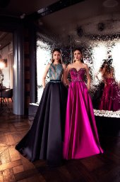 Evening dresses №1400 Silhouette  A Line  Color  Blue  Neckline  Halter  Sleeves  Sleeveless  Train  With train - foto 4