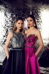 Evening dresses №1400 Silhouette  A Line  Color  Blue  Neckline  Halter  Sleeves  Sleeveless  Train  With train - foto 3