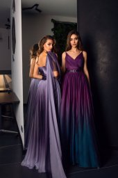 Evening dresses №1479 Silhouette  A Line  Color  Violet  Sleeves  One Shoulder  Train  No train - foto 2