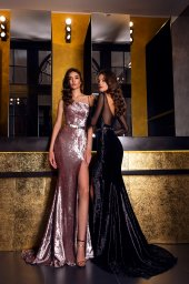 Evening dresses №1546  Silhouette  Fitted  Color  Black  Neckline  Straight  Sleeves  Long Sleeves  Train  With train - foto 3