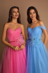 Evening dresses №1578 Silhouette  A Line  Color  Pink  Neckline  Sweetheart  Sleeves  Off the Shoulder Sleeves  Train  With train - foto 2