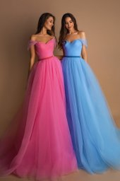 Evening dresses №1578 Silhouette  A Line  Color  Pink  Neckline  Sweetheart  Sleeves  Off the Shoulder Sleeves  Train  With train - foto 3