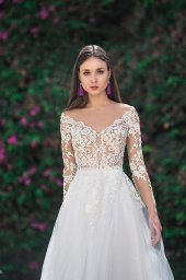 Wedding dresses Milada Collection  Fresh Touch  Silhouette  A Line  Color  Cappuccino  Ivory  Neckline  Portrait (V-neck)  Illusion  Sleeves  Long Sleeves  Fitted  Train  With train - foto 2