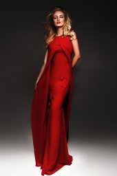Evening dresses №950-1 (without cape) Silhouette  Fitted  Color  Red  Sleeves  Sleeveless  Train  With train - foto 2