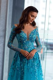 Evening dresses 1841-1 Silhouette  A Line  Color  Blue  Neckline  Sweetheart  Scoop  Sleeves  Long Sleeves  Train  With train - foto 2