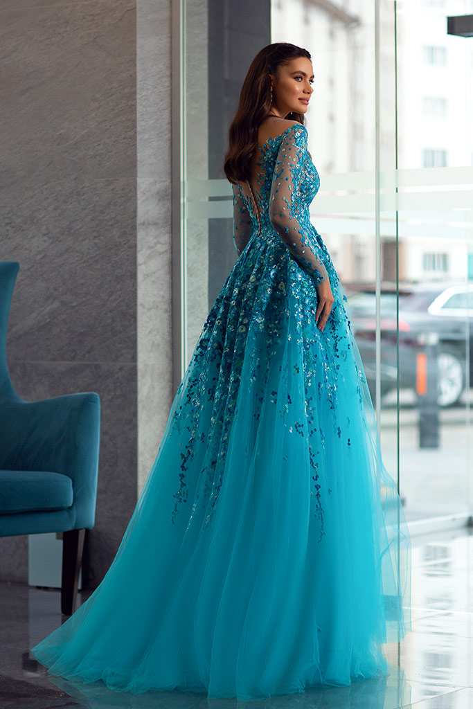 Evening dresses 1841-1 Silhouette  A Line  Color  Blue  Neckline  Sweetheart  Scoop  Sleeves  Long Sleeves  Train  With train - foto 3