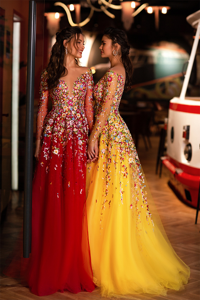 Evening dresses 1842-1 Silhouette  A Line  Color  Yellow  Neckline  Sweetheart  Scoop  Sleeves  Long Sleeves  Train  With train - foto 2