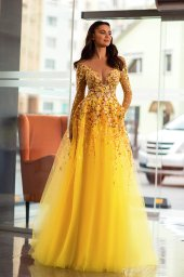 Evening dresses 1842-1 Silhouette  A Line  Color  Yellow  Neckline  Sweetheart  Scoop  Sleeves  Long Sleeves  Train  With train - foto 3