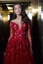 Evening dresses 1844 Silhouette  A Line  Color  Red  Neckline  Sweetheart  Scoop  Sleeves  Long Sleeves  Train  With train - foto 6