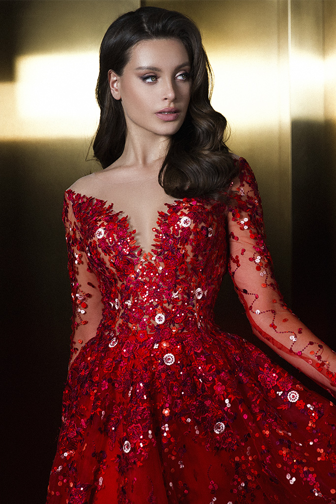 Evening dresses 1844 Silhouette  A Line  Color  Red  Neckline  Sweetheart  Scoop  Sleeves  Long Sleeves  Train  With train - foto 5