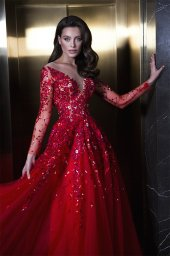 Evening dresses 1844 Silhouette  A Line  Color  Red  Neckline  Sweetheart  Scoop  Sleeves  Long Sleeves  Train  With train - foto 4