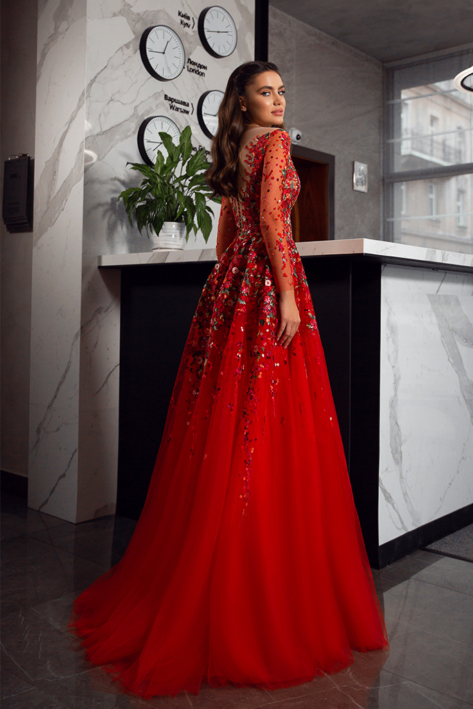 Evening dresses 1844-2 Silhouette  A Line  Color  Red  Neckline  Sweetheart  Scoop  Sleeves  Long Sleeves  Train  With train - foto 2