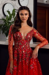 Evening dresses 1844-2 Silhouette  A Line  Color  Red  Neckline  Sweetheart  Scoop  Sleeves  Long Sleeves  Train  With train - foto 3
