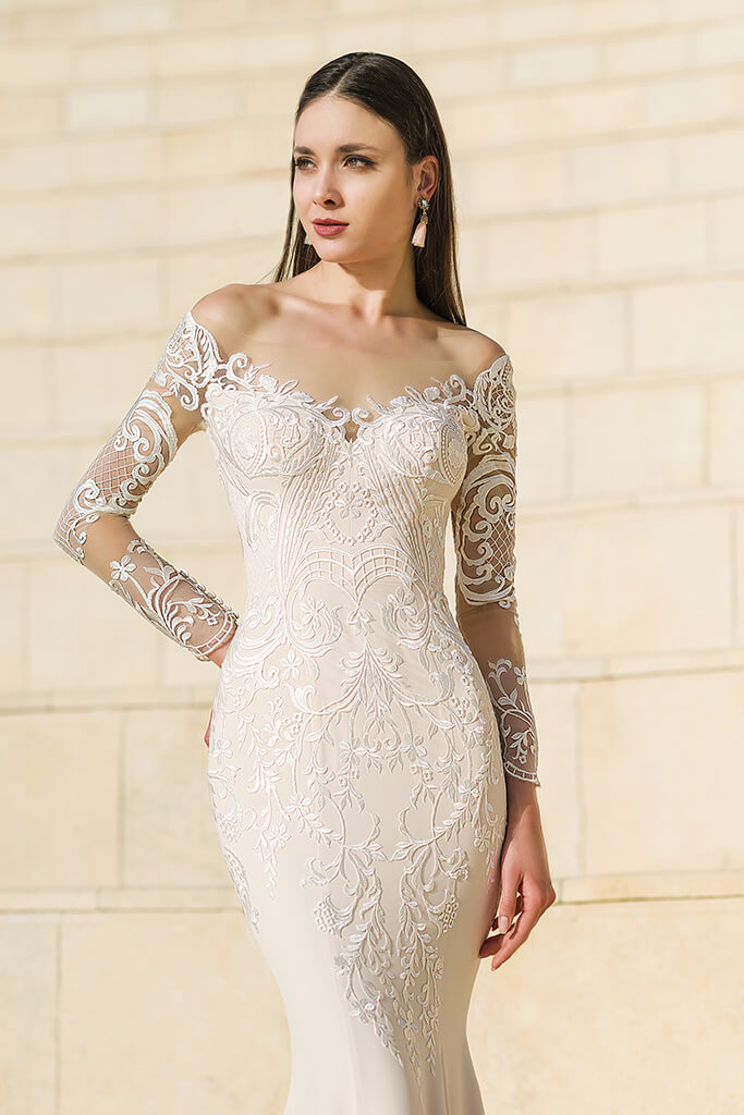 Wedding dresses Wallis Collection  Fresh Touch  Silhouette  Sheath  Color  Cappuccino  Ivory  Neckline  Sweetheart  Sleeves  Long Sleeves  Fitted  Train  With train - foto 6