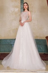 Wedding dresses Eos Collection  Fresh Touch  Silhouette  A Line  Color  Ivory  Neckline  Bateau (Boat Neck)  Sleeves  Detachable  Wide straps  Train  With train - foto 2