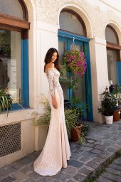 Wedding dresses Filis Collection  Dolce Italia  Silhouette  A Line  Color  Nude  Ivory  Neckline  Sweetheart  Sleeves  Off the Shoulder Sleeves  Train  Detachable train - foto 3