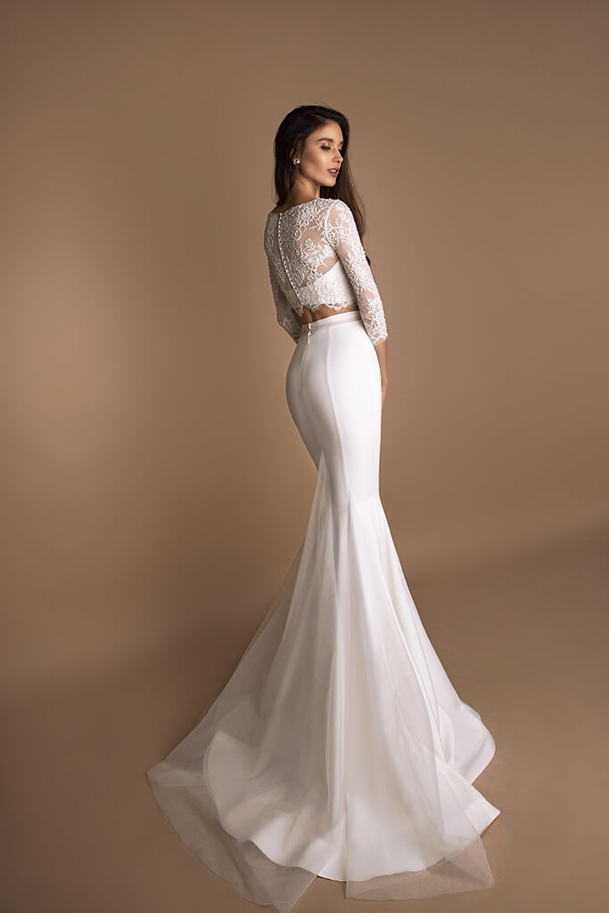 Wedding dresses Loren Collection  New Look  Silhouette  Mermaid  Color  Ivory  Neckline  Sweetheart  Jewel  Sleeves  Long Sleeves  Fitted  Train  With train - foto 2