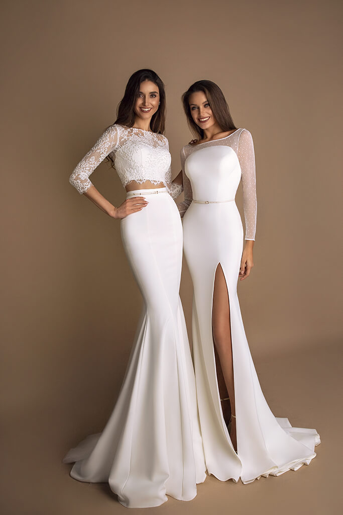 Wedding dresses Loren Collection  New Look  Silhouette  Mermaid  Color  Ivory  Neckline  Sweetheart  Jewel  Sleeves  Long Sleeves  Fitted  Train  With train - foto 4