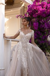 Wedding dresses Elody Collection  Highlighted Glamour  Silhouette  Fitted  Color  Silver  Ivory  Neckline  Sweetheart  Sleeves  Long Sleeves  Fitted  Train  Detachable train - foto 2