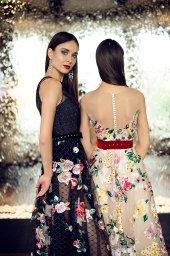 Evening Dresses 1376 Silhouette  A Line  Color  Multi  Neckline  Jewel  Sleeves  Wide straps  Illusion Straps  Train  No train - foto 3
