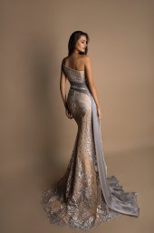 Evening Dresses 1481 Silhouette  Fitted  Color  Gold  Sleeves  One Shoulder  Train  With train - foto 3