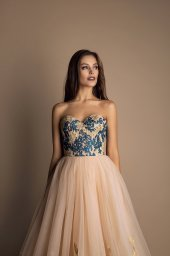Evening Dresses 1592 Silhouette  A Line  Color  Blue  Ivory  Neckline  Sweetheart  Sleeves  Sleeveless  Train  No train - foto 2