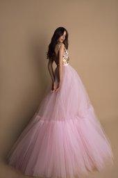 Evening Dresses 1599 Silhouette  A Line  Color  Pink  Neckline  Portrait (V-neck)  Sleeves  Wide straps  Train  No train - foto 3