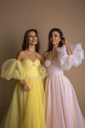 Evening Dresses 1605 Silhouette  A Line  Color  Pink  Yellow  Neckline  Sweetheart  Sleeves  Off the Shoulder Sleeves  Train  No train - foto 3